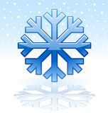 Shiny snowflake icon. Blue shiny snowflake icon on reflection plate Stock Photos
