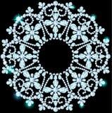 Shiny snowflake made of precious stones on black background Stock Photos
