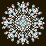 Shiny snowflake made of precious stones on black background Royalty Free Stock Photography