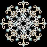shiny snowflake made of precious stones on black background Royalty Free Stock Photo