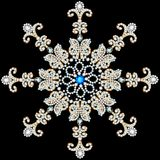 shiny snowflake made of precious stones on black background Stock Photo