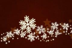 Shiny snowflakes on dark red background stock illustration