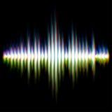 Shiny sound waveform. With vibrating light aberrations Stock Photo