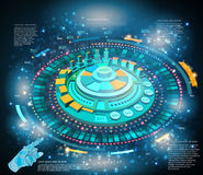 Shiny space background or hightech futuristic interface infographic with hand pointer HUD and GUI. Space background or hightech futuristic interface infographic Stock Photography