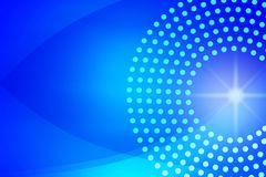 Shiny Sparkle, Circles, Dots and Curves in Blurred Blue Background stock illustration