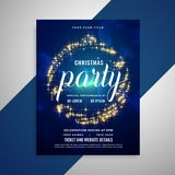 Shiny sparkling christmas party poster flyer template design. Vector royalty free illustration