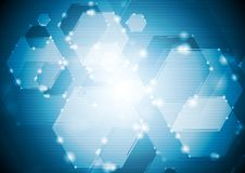 Shiny sparkling tech hexagons background Royalty Free Stock Image