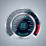 Shiny speedometer with big rev counter Royalty Free Stock Images