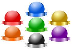Shiny Sphere Badges with Ribbon Banner Stock Photography