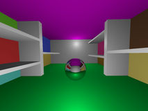 Shiny sphere room. A room with a shiny sphere and some shelves Royalty Free Stock Image