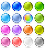 Shiny Sphere Set. Glossy sphere buttons in various colors including rainbow. Very large high resolution image Royalty Free Stock Photos