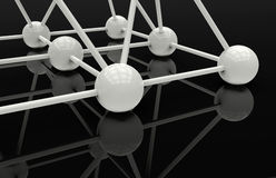 Shiny spheres connected in a network. 3D rendered illustration of multiple white spheres connected in a network. The composition is placed on a reflective black Royalty Free Stock Photography