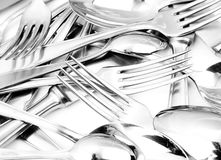 Shiny spoon, knife and fork Royalty Free Stock Photo
