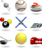 Shiny sports icon set series. Series set of shiny colour icons or design elements related to sports Royalty Free Stock Image