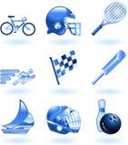 Shiny sports icon set series Stock Photos
