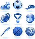 Shiny sports icon set series. Series set of shiny colour icons or design elements related to sports Stock Image