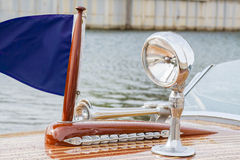 Shiny spotlight adorns pampered wooden boat Stock Photos