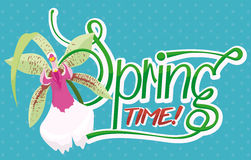 Shiny Spring Text with Beautiful Orchid, Vector Illustration Royalty Free Stock Images