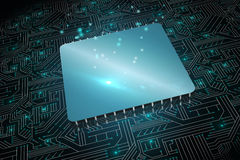 Shiny square on circuit board Royalty Free Stock Image