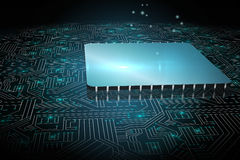 Shiny square on circuit board Stock Photos