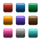 Shiny Square Color Buttons Vector. A set of nine colorful vector buttons with a shiny glossy effect Stock Image
