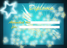 Shiny star diploma. Standardized shiny star diploma ,blue background with awarded to and for white spaces - empty area on bottom side for director/coordinator/ Stock Images
