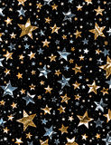 Shiny Star Field. A star field of gold and silver stars with a clipping path Stock Photo