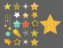 Shiny star icons in different style pointed pentagonal gold award abstract design doodle night artistic symbol vector Stock Photo