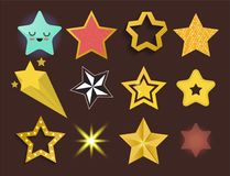 Shiny Star Icons In Different Style Pointed Pentagonal Gold Award Abstract Design Doodle Night Artistic Symbol Vector Royalty Free Stock Photography