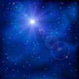 Shiny star on night sky. Shiny star in the dark blue night sky, illustration