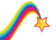 Shiny star and rainbow trail Stock Images