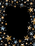 Shiny Stars. A star field of gold and silver stars with a clipping path Royalty Free Stock Photos