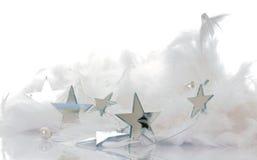 Shiny stars. Decoration with shiny silver stars Stock Photos