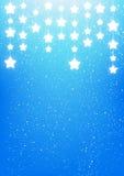 Shiny stars on blue. Background Stock Photo