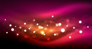 Shiny stars, neon glowing digital connected light dots. Vector technology abstract background Stock Images