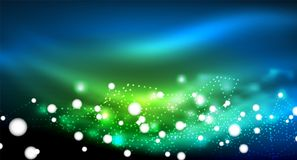 Shiny stars, neon glowing digital connected light dots. Vector technology abstract background Royalty Free Stock Photography