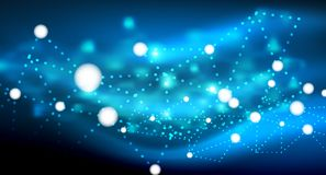 Shiny stars, neon glowing digital connected light dots. Vector technology abstract background Royalty Free Stock Photo