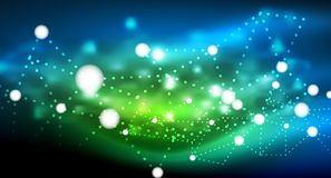 Shiny stars, neon glowing digital connected light dots. Vector technology abstract background Royalty Free Stock Images