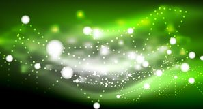 Shiny stars, neon glowing digital connected light dots. Vector technology abstract background Stock Photo
