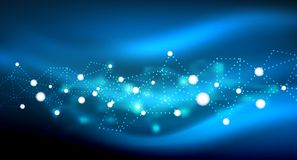 Shiny stars, neon glowing digital connected light dots. Vector technology abstract background Stock Image