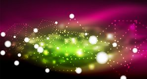 Shiny stars, neon glowing digital connected light dots. Vector technology abstract background Stock Photography