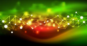 Shiny stars, neon glowing digital connected light dots. Vector technology abstract background Royalty Free Stock Photos