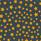 Shiny stars style seamless pattern pentagonal gold award abstract design doodle night artistic background vector Stock Images