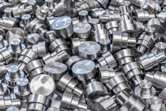 Shiny steel parts backround. A pile of many turning machinery arts Royalty Free Stock Photography