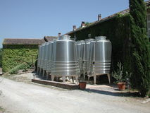 Shiny steel storage tanks. In a rural environment on a sunny day Stock Images