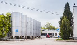 Shiny steel tanks stand in a row, Inkerman Stock Image