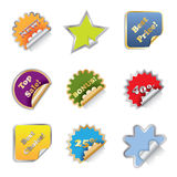 Shiny Stickers. With Gold and silver frames Royalty Free Stock Image