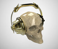 Shiny stone human skull with golden studio earphones on, render front view. Halloween party poster template. Isolated Royalty Free Stock Image