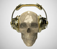 Shiny stone human skull with golden studio earphones on, render front view. Halloween party poster template. Isolated Stock Image