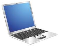 Shiny stylish metallic laptop diagonal view vector illustration